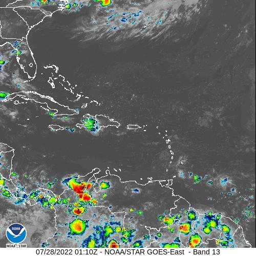NOAA GOES Satellite Imagery Loop Tropical Storm Isaias, Florida, Caribbean