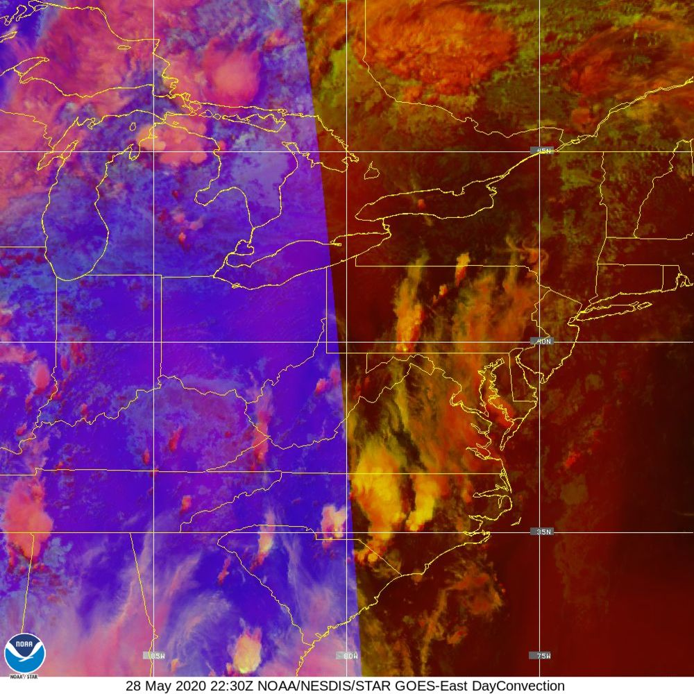 Day Convection - RGB used to identify areas of rapid intensification - 28 May 2020 - 2230 UTC