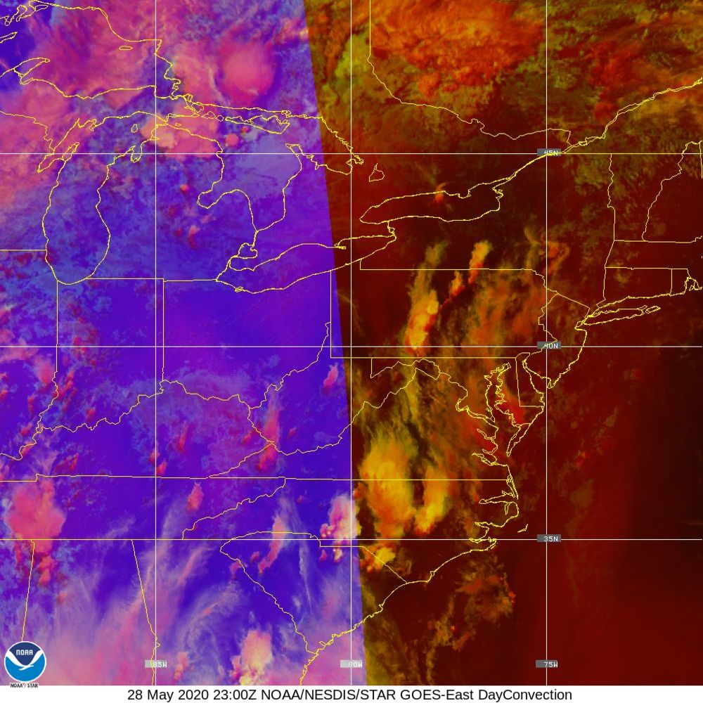 Day Convection - RGB used to identify areas of rapid intensification - 28 May 2020 - 2300 UTC