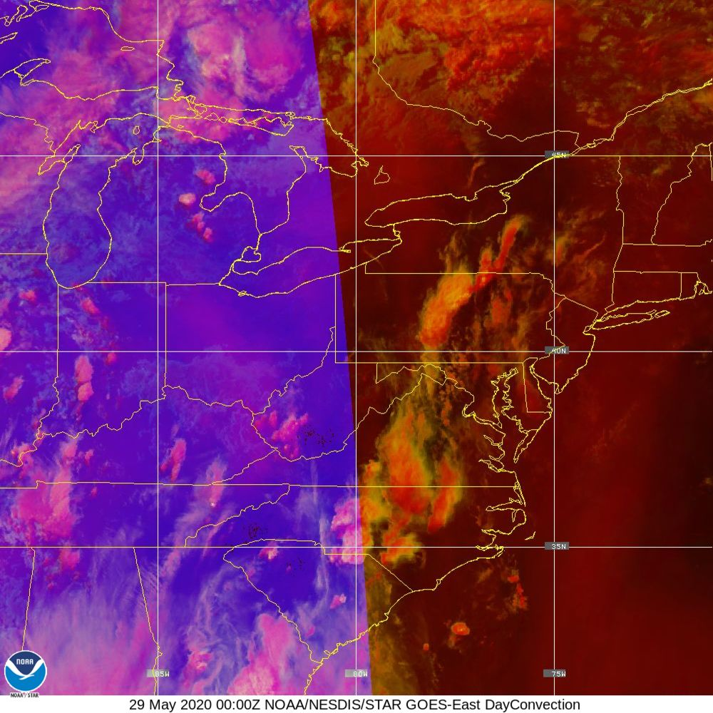 Day Convection - RGB used to identify areas of rapid intensification - 29 May 2020 - 0000 UTC