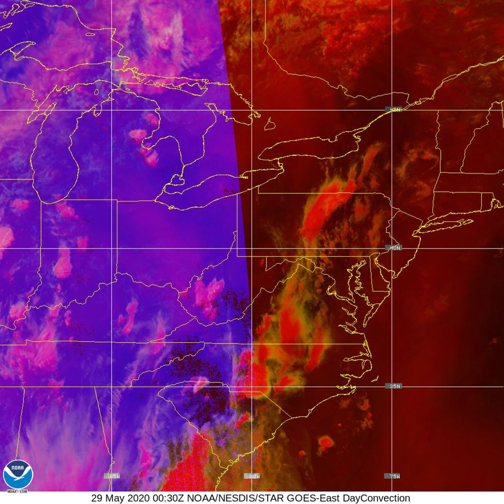 Day Convection - RGB used to identify areas of rapid intensification - 29 May 2020 - 0030 UTC