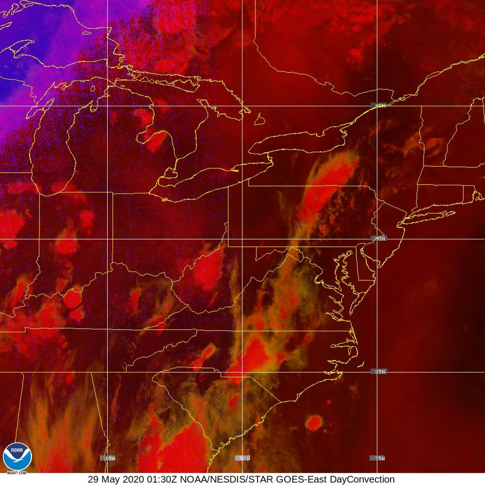 Day Convection - RGB used to identify areas of rapid intensification - 29 May 2020 - 0130 UTC