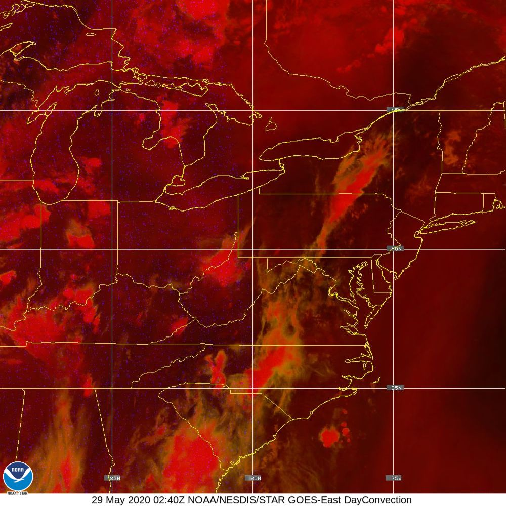 Day Convection - RGB used to identify areas of rapid intensification - 29 May 2020 - 0240 UTC
