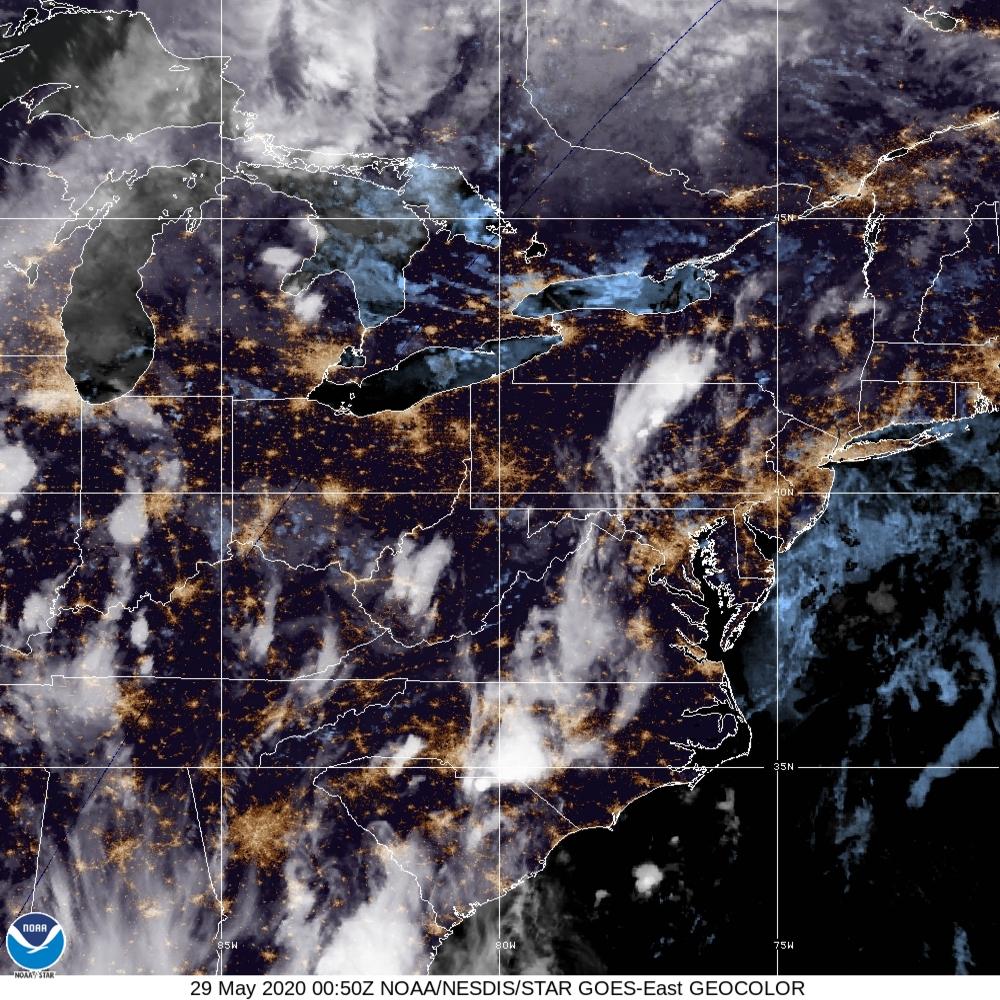 GeoColor - True Color daytime, multispectral IR at night - 29 May 2020 - 0050 UTC