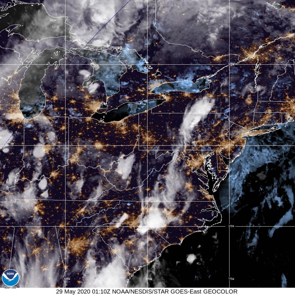 GeoColor - True Color daytime, multispectral IR at night - 29 May 2020 - 0110 UTC