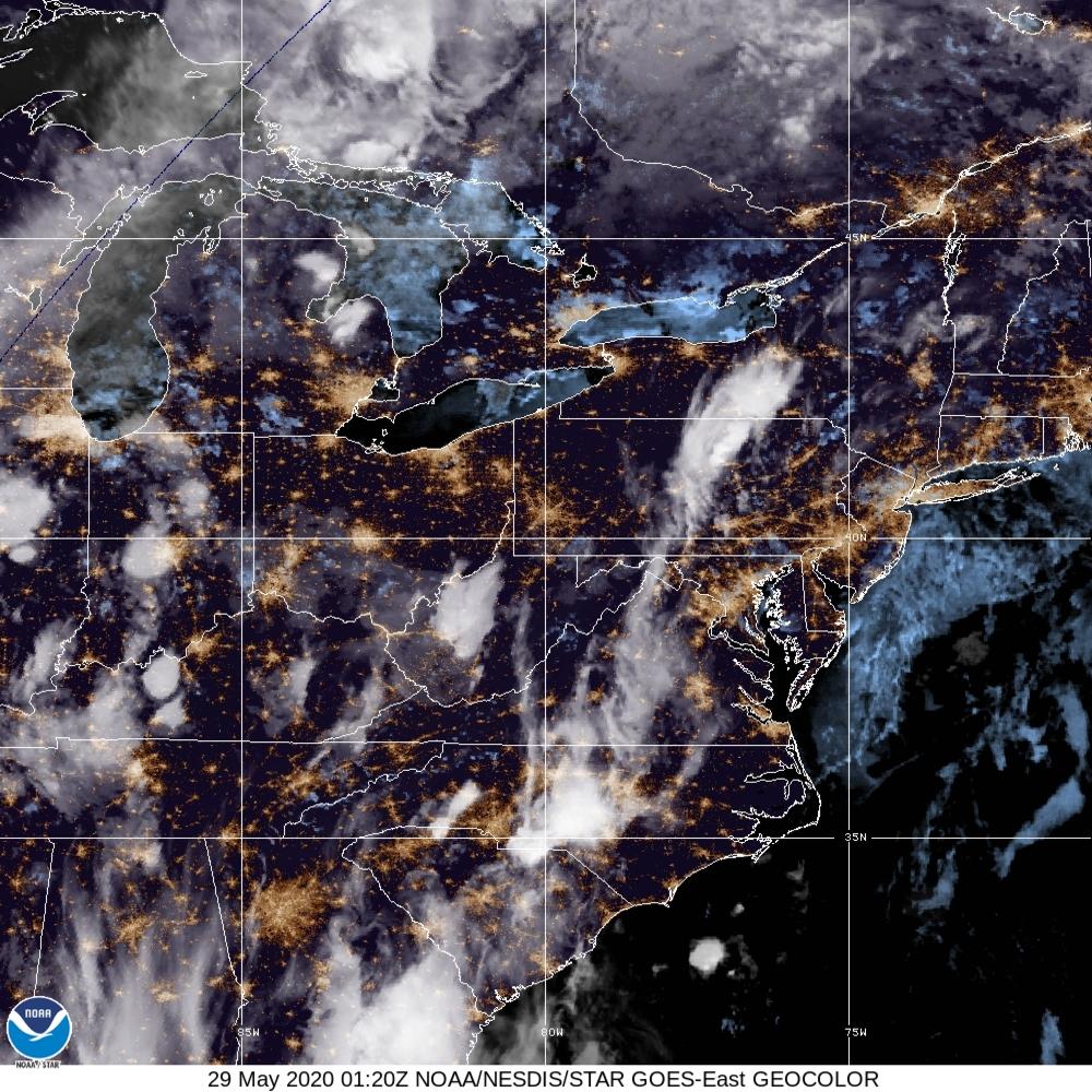 GeoColor - True Color daytime, multispectral IR at night - 29 May 2020 - 0120 UTC