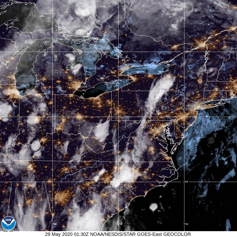 GeoColor - True Color daytime, multispectral IR at night - 29 May 2020 - 0130 UTC