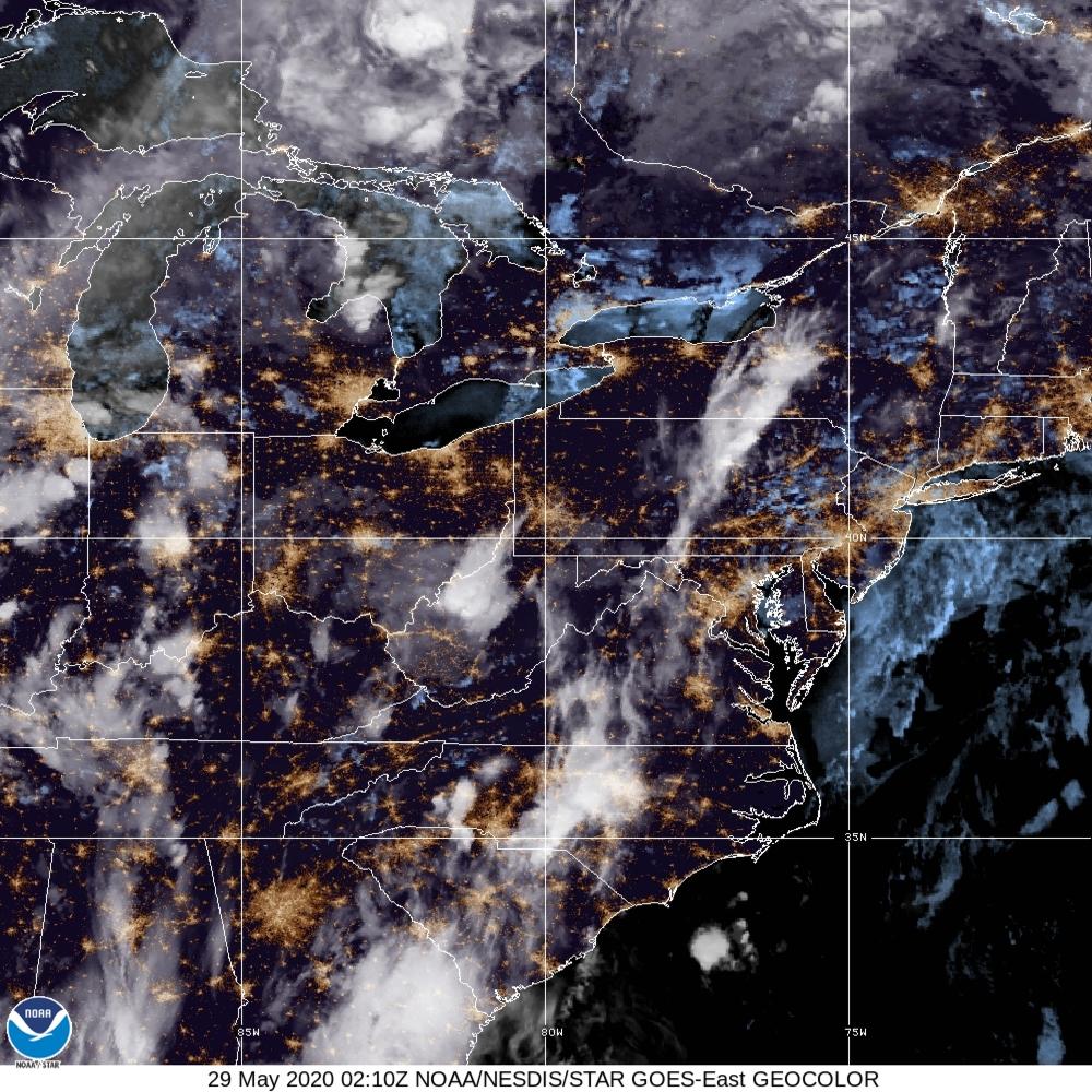 GeoColor - True Color daytime, multispectral IR at night - 29 May 2020 - 0210 UTC