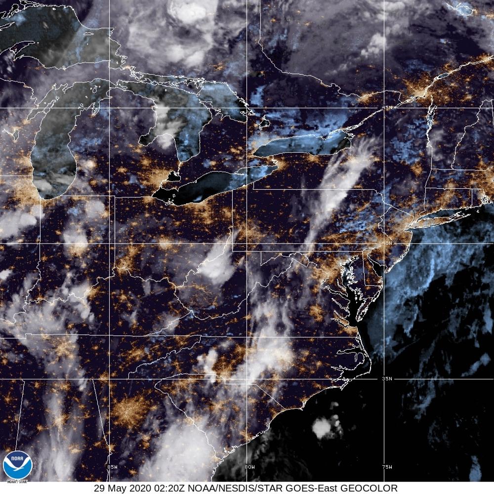 GeoColor - True Color daytime, multispectral IR at night - 29 May 2020 - 0220 UTC