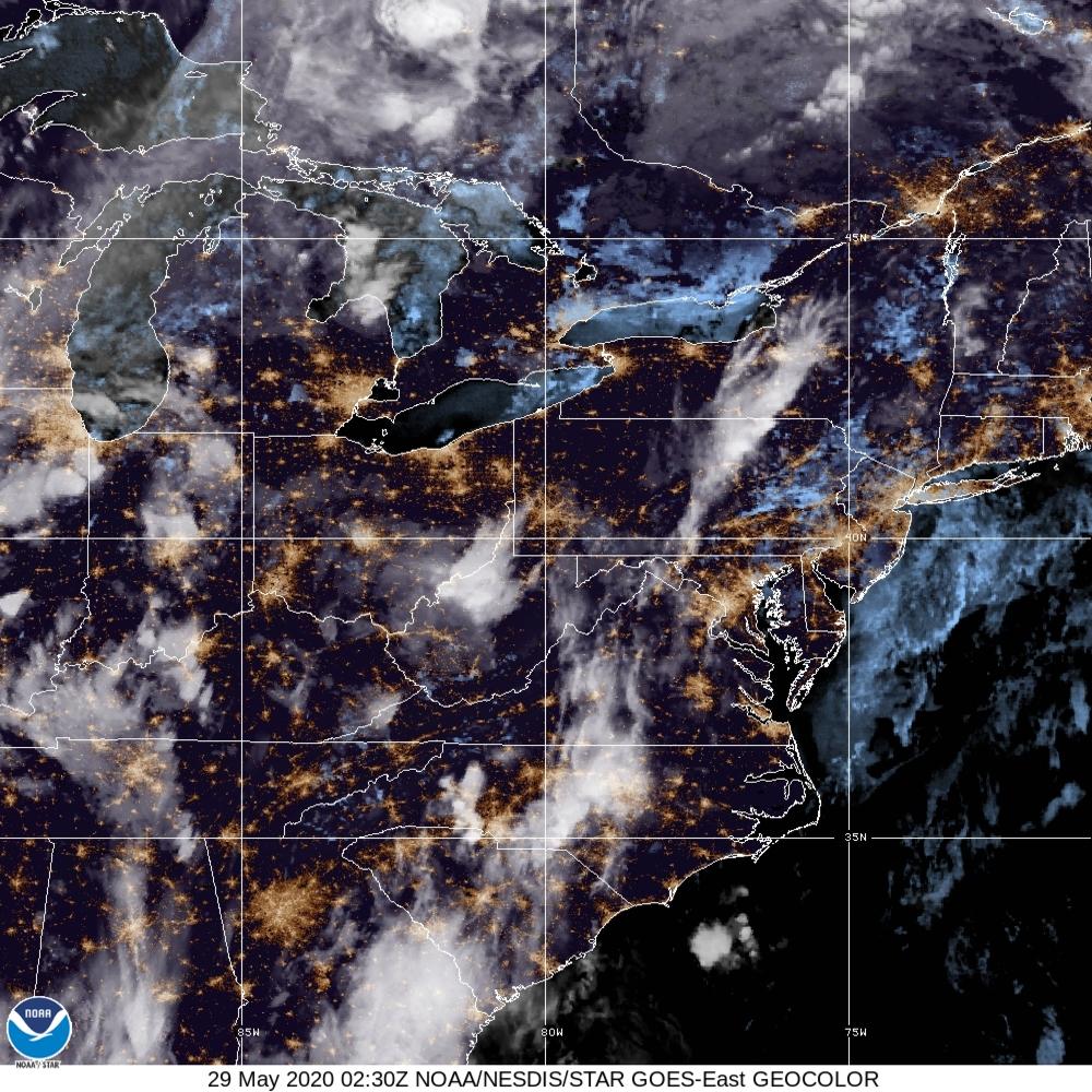 GeoColor - True Color daytime, multispectral IR at night - 29 May 2020 - 0230 UTC