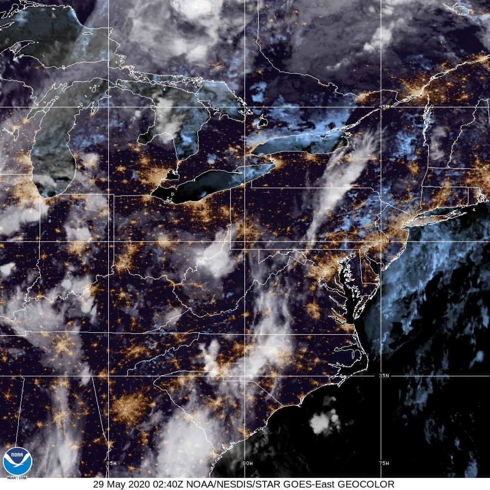 GeoColor - True Color daytime, multispectral IR at night - 29 May 2020 - 0240 UTC
