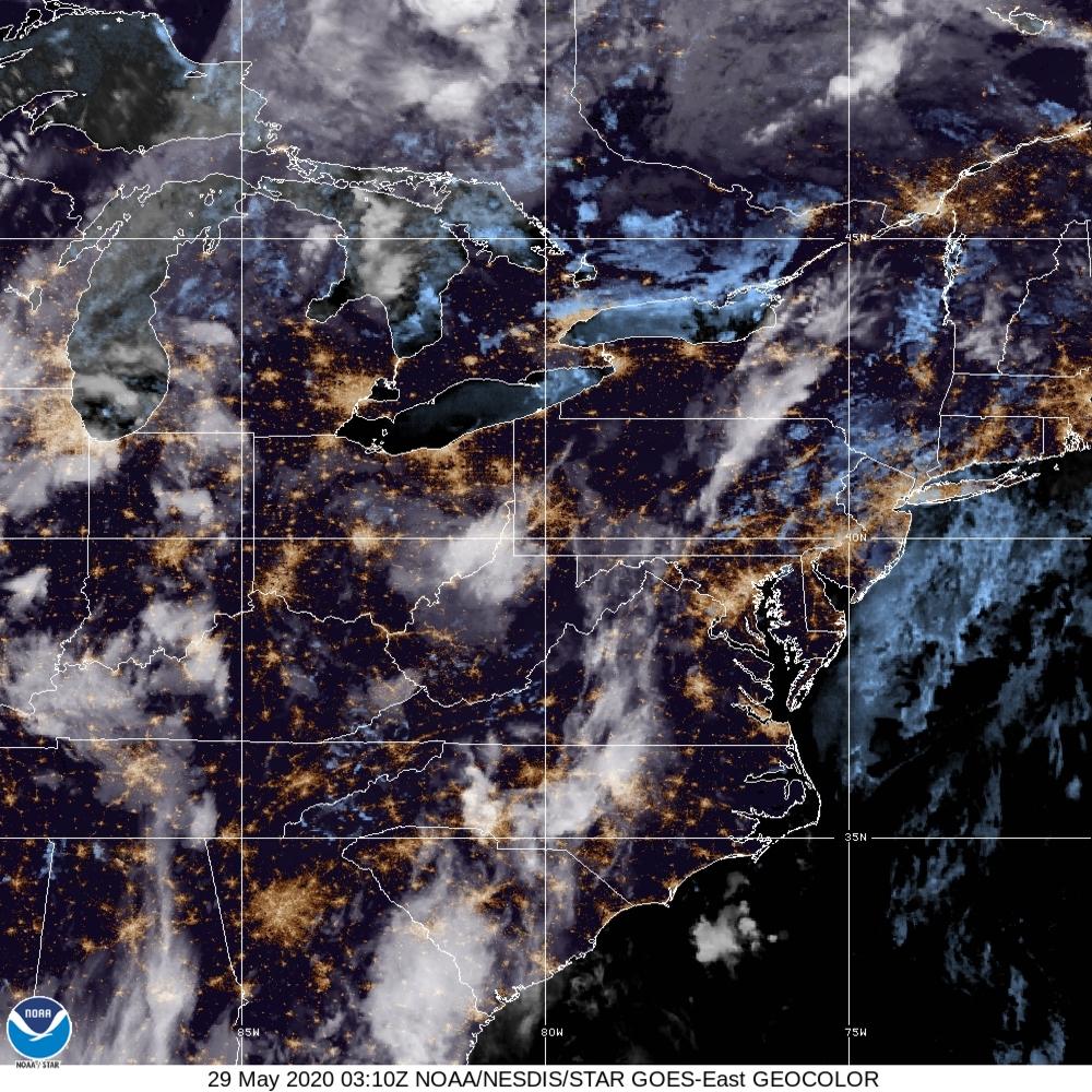 GeoColor - True Color daytime, multispectral IR at night - 29 May 2020 - 0310 UTC