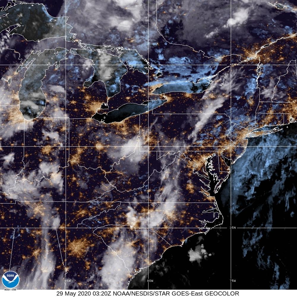 GeoColor - True Color daytime, multispectral IR at night - 29 May 2020 - 0320 UTC