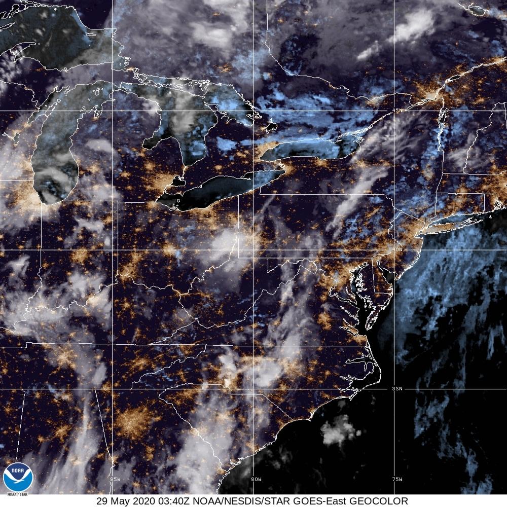 GeoColor - True Color daytime, multispectral IR at night - 29 May 2020 - 0340 UTC