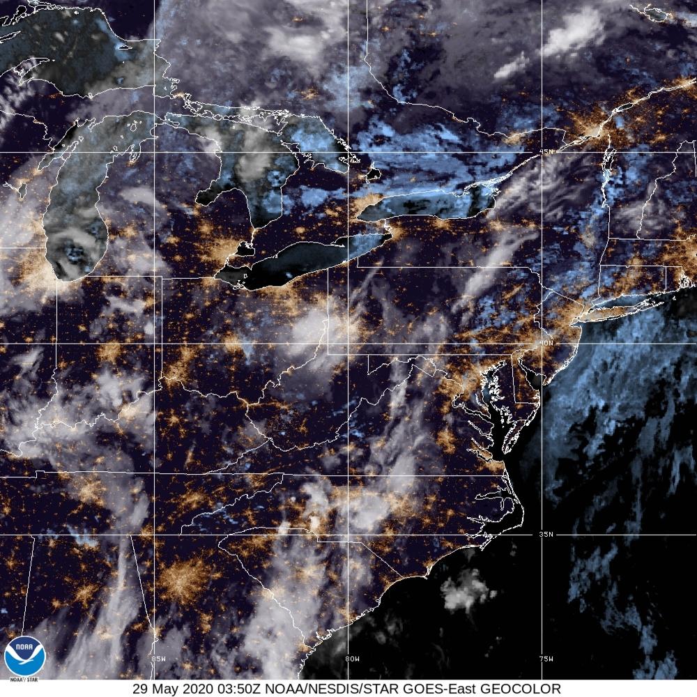 GeoColor - True Color daytime, multispectral IR at night - 29 May 2020 - 0350 UTC