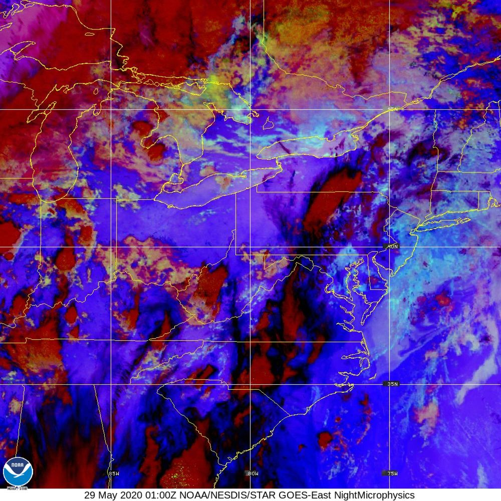 Nighttime Microphysics - RGB used to distinguish clouds from fog - 29 May 2020 - 0100 UTC