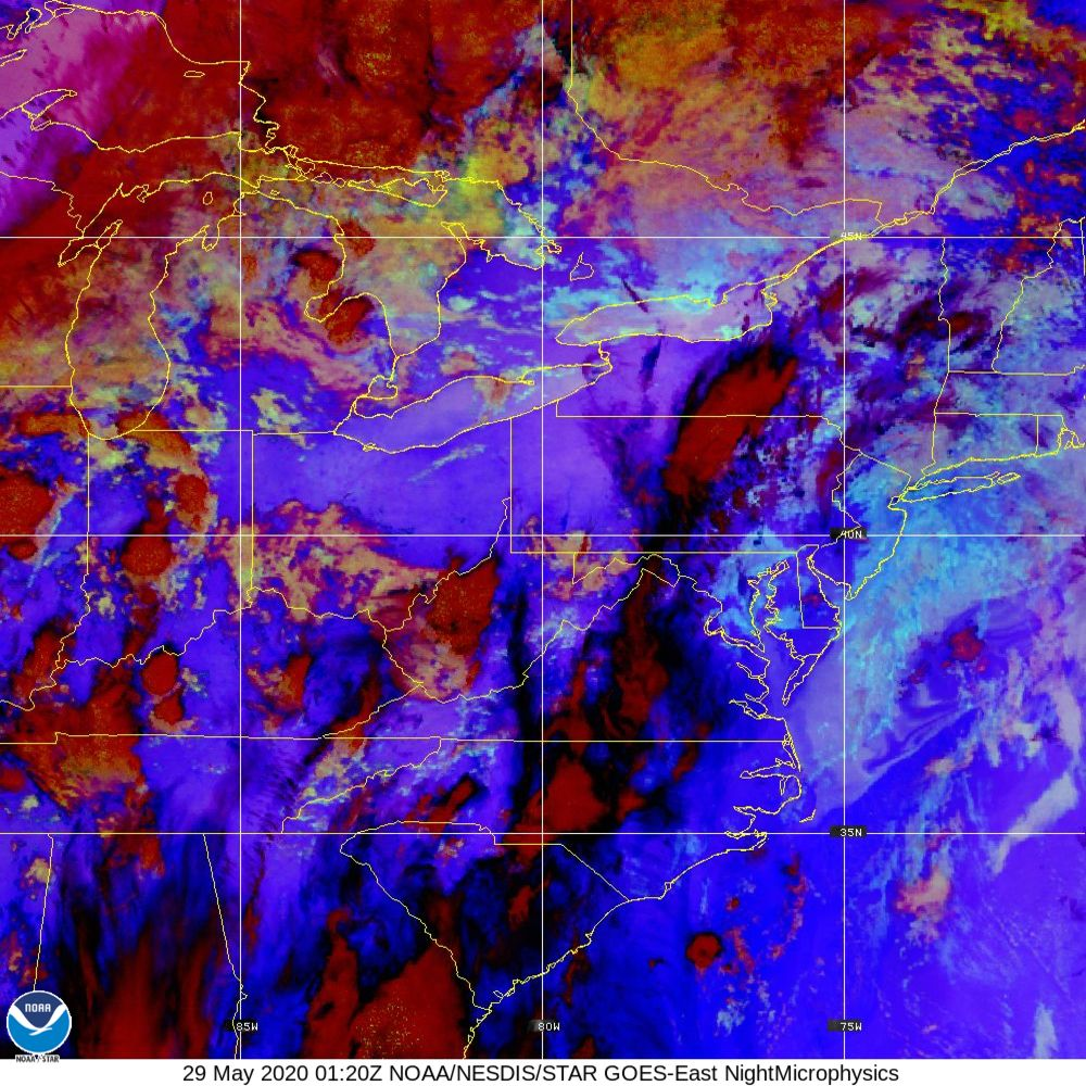 Nighttime Microphysics - RGB used to distinguish clouds from fog - 29 May 2020 - 0120 UTC