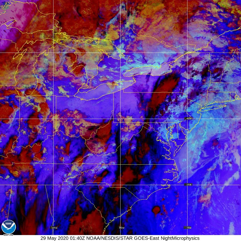 Nighttime Microphysics - RGB used to distinguish clouds from fog - 29 May 2020 - 0140 UTC