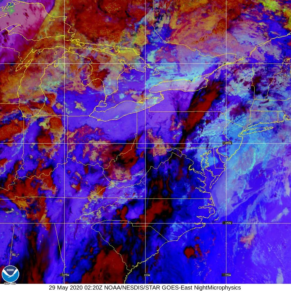 Nighttime Microphysics - RGB used to distinguish clouds from fog - 29 May 2020 - 0220 UTC