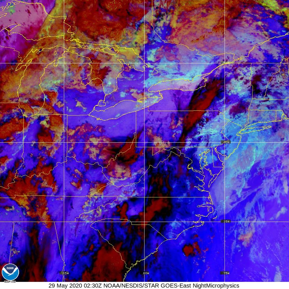 Nighttime Microphysics - RGB used to distinguish clouds from fog - 29 May 2020 - 0230 UTC