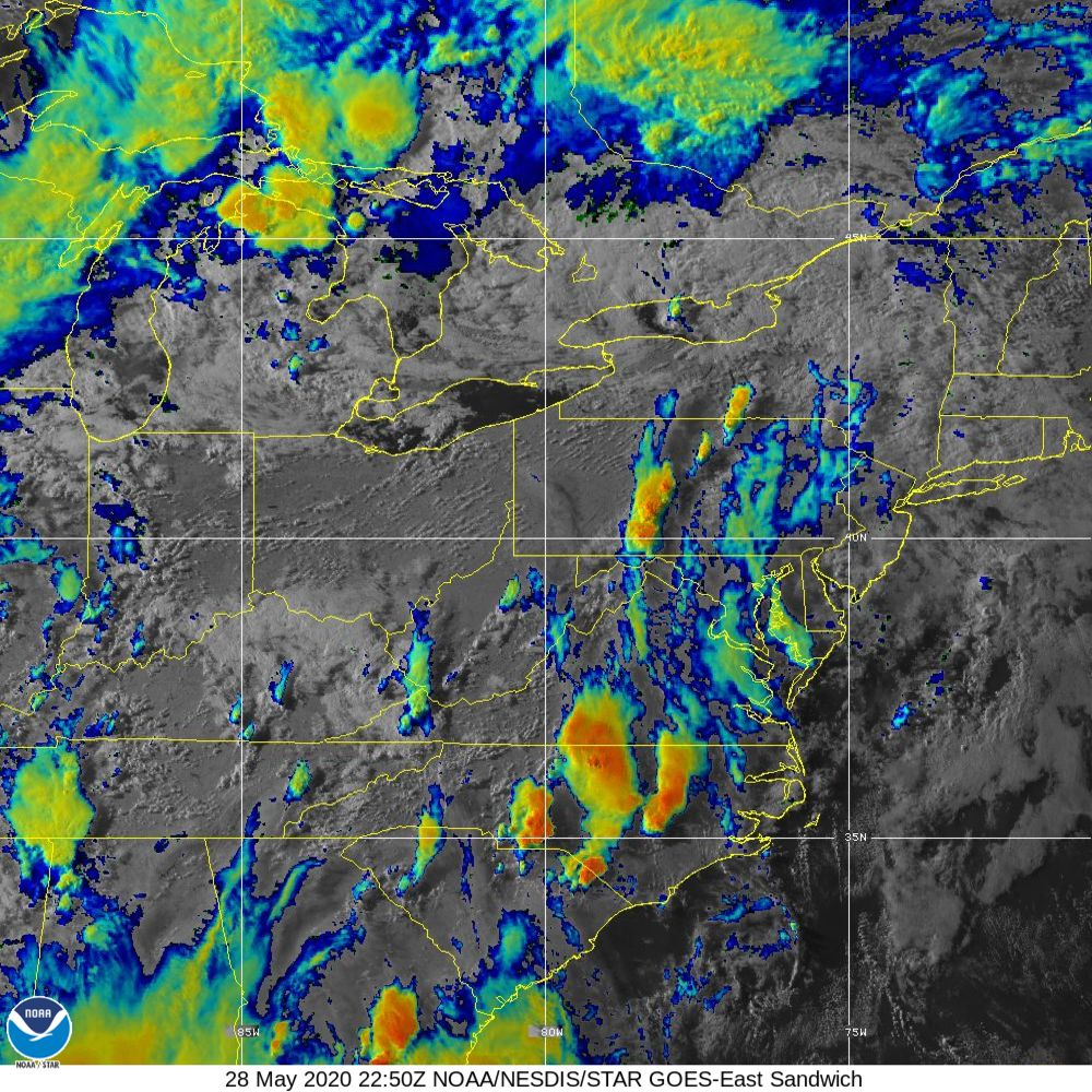 Sandwich - Multi-spectral blend combines IR band 13 with visual band 3 - 28 May 2020 - 2250 UTC