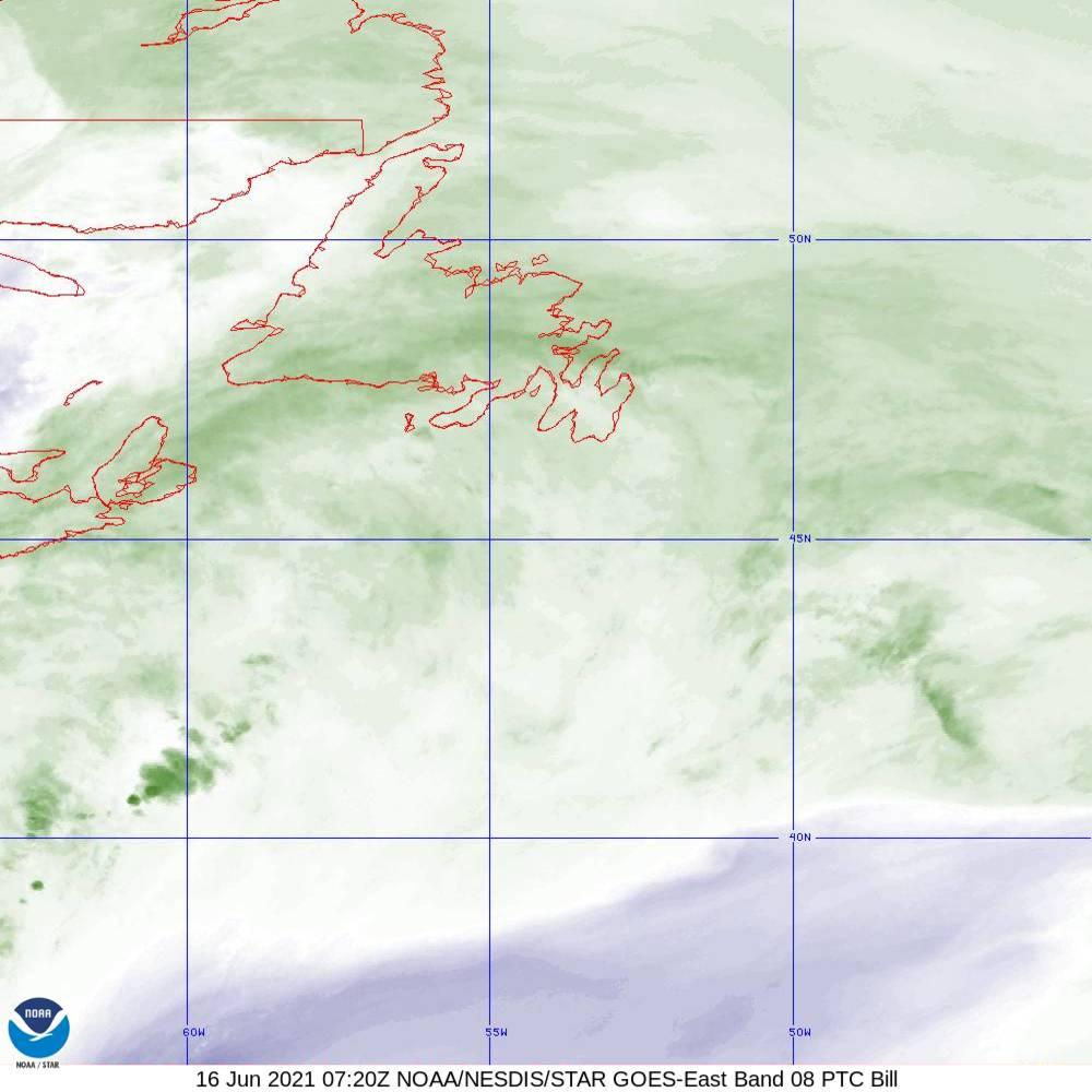 Band 8 - 6.2 µm - Upper-Level Water Vapor - IR  - 16 Jun 2021 - 0720 UTC