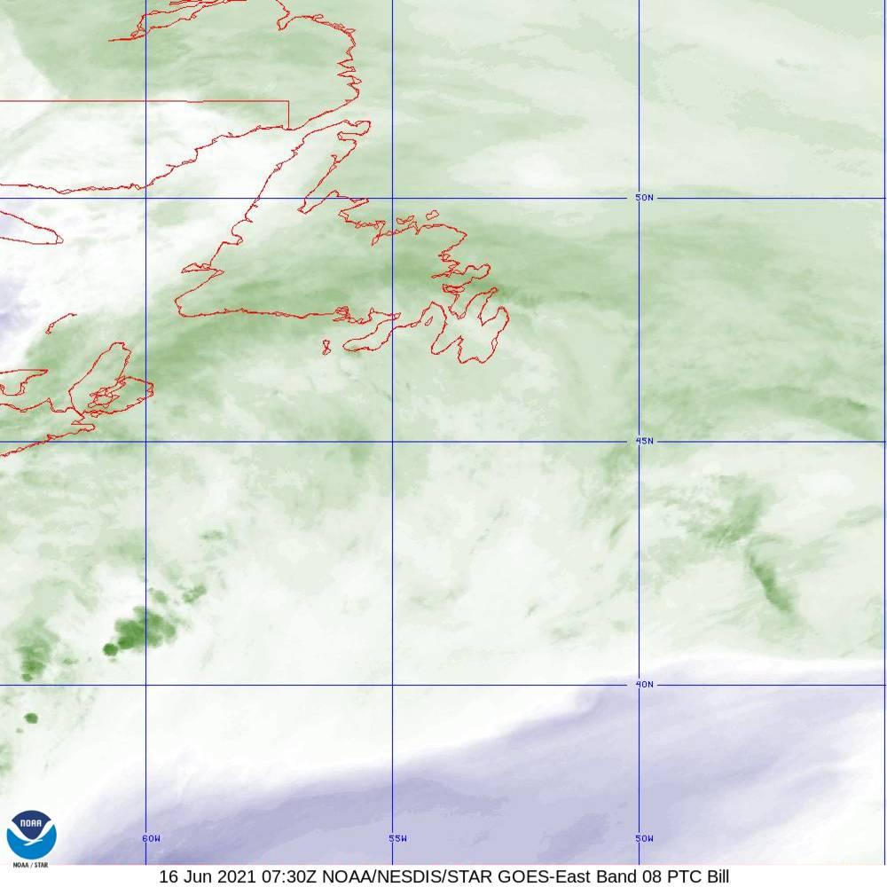 Band 8 - 6.2 µm - Upper-Level Water Vapor - IR  - 16 Jun 2021 - 0730 UTC
