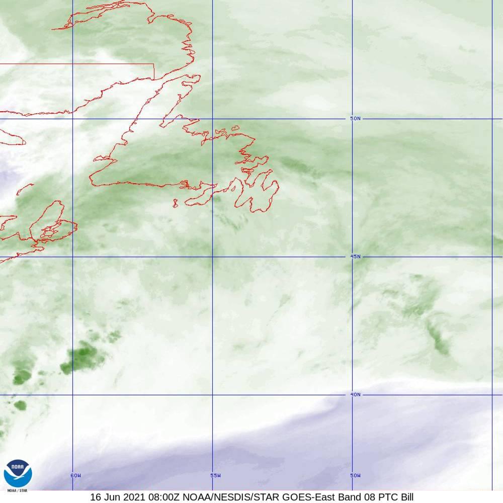 Band 8 - 6.2 µm - Upper-Level Water Vapor - IR  - 16 Jun 2021 - 0800 UTC