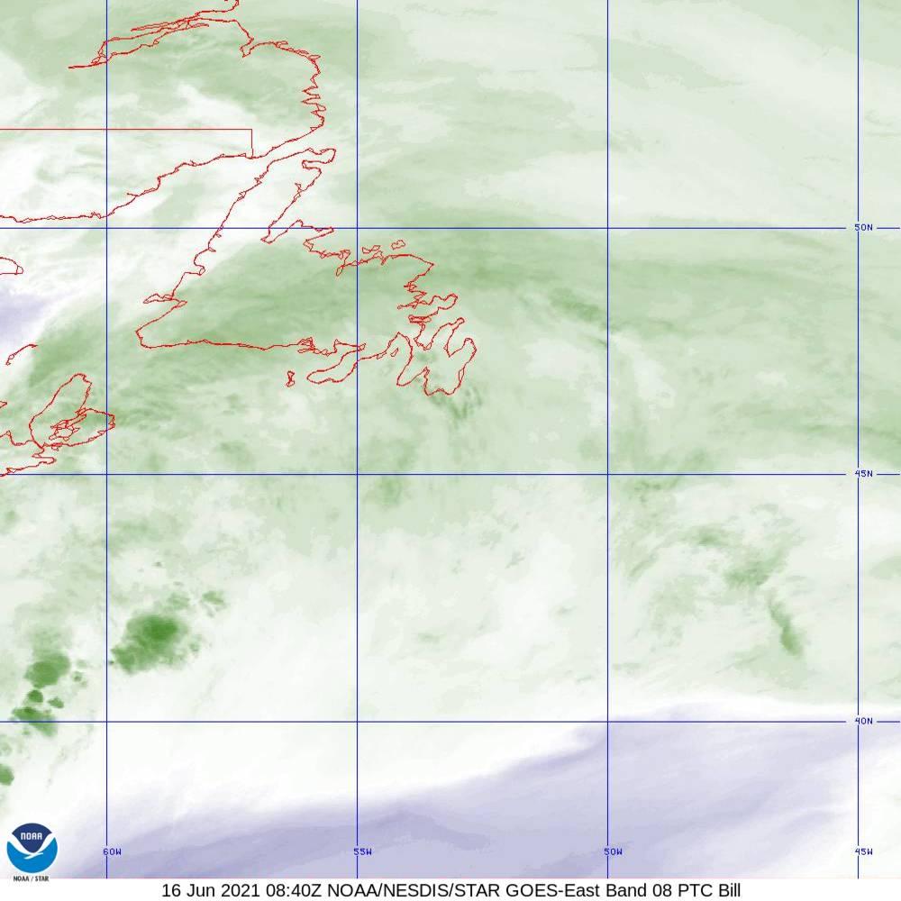 Band 8 - 6.2 µm - Upper-Level Water Vapor - IR  - 16 Jun 2021 - 0840 UTC