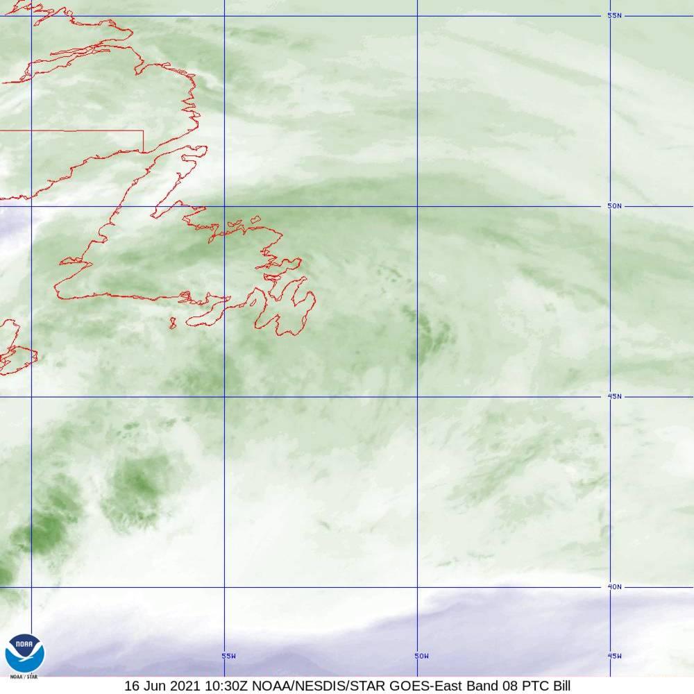 Band 8 - 6.2 µm - Upper-Level Water Vapor - IR  - 16 Jun 2021 - 1030 UTC