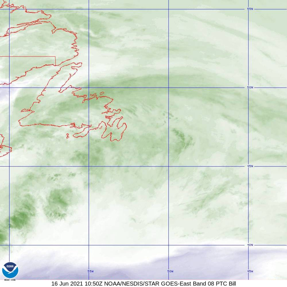 Band 8 - 6.2 µm - Upper-Level Water Vapor - IR  - 16 Jun 2021 - 1050 UTC
