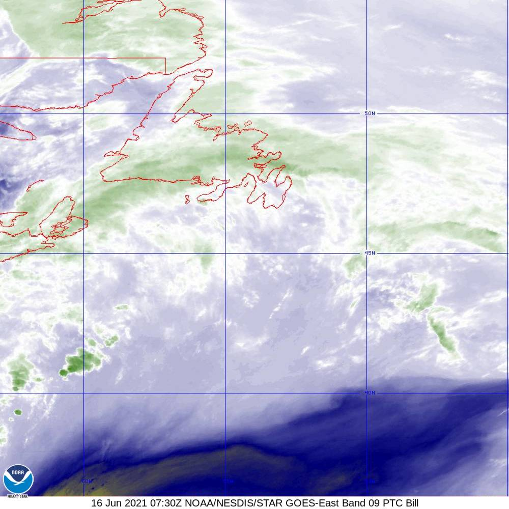 Band 9 - 6.9 µm - Mid-Level Water Vapor - IR  - 16 Jun 2021 - 0730 UTC