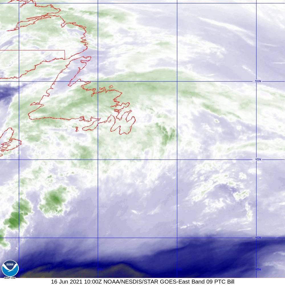 Band 9 - 6.9 µm - Mid-Level Water Vapor - IR  - 16 Jun 2021 - 1000 UTC
