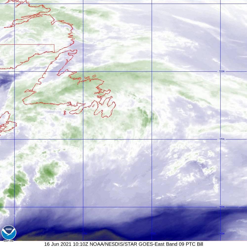 Band 9 - 6.9 µm - Mid-Level Water Vapor - IR  - 16 Jun 2021 - 1010 UTC