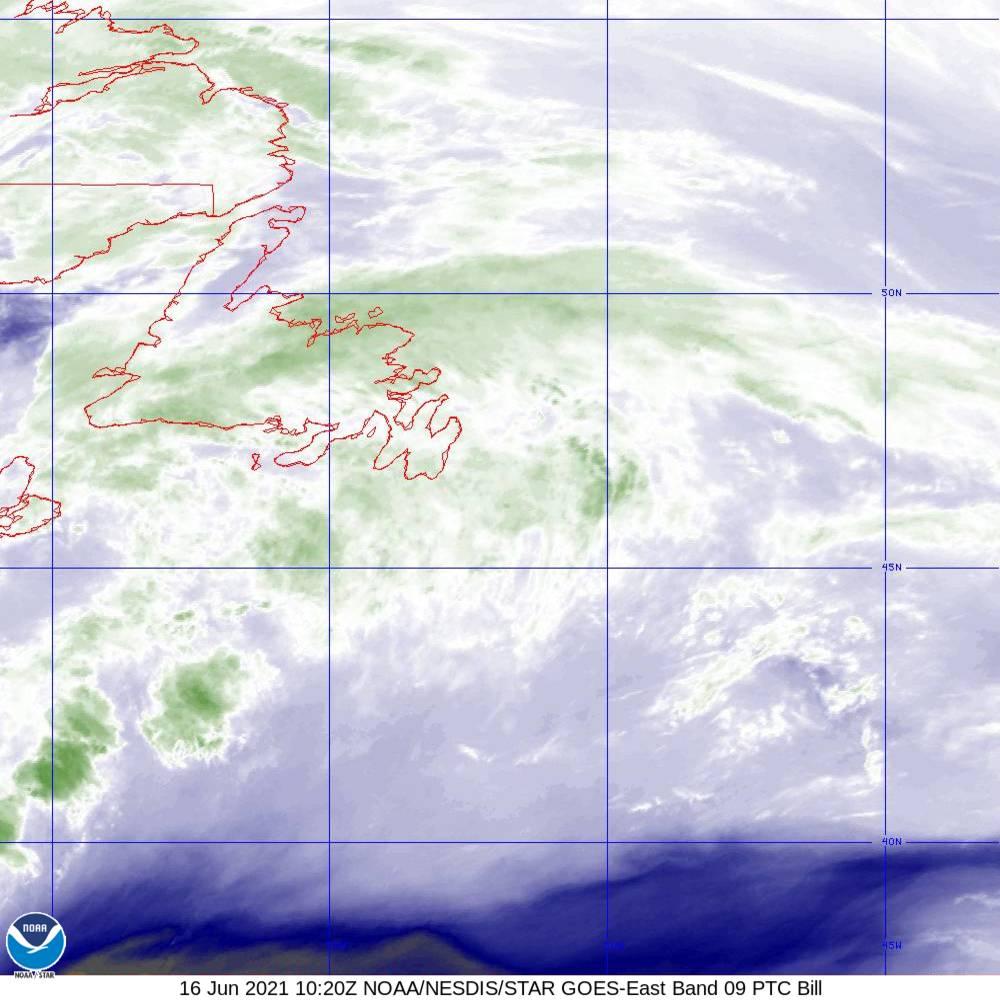 Band 9 - 6.9 µm - Mid-Level Water Vapor - IR  - 16 Jun 2021 - 1020 UTC