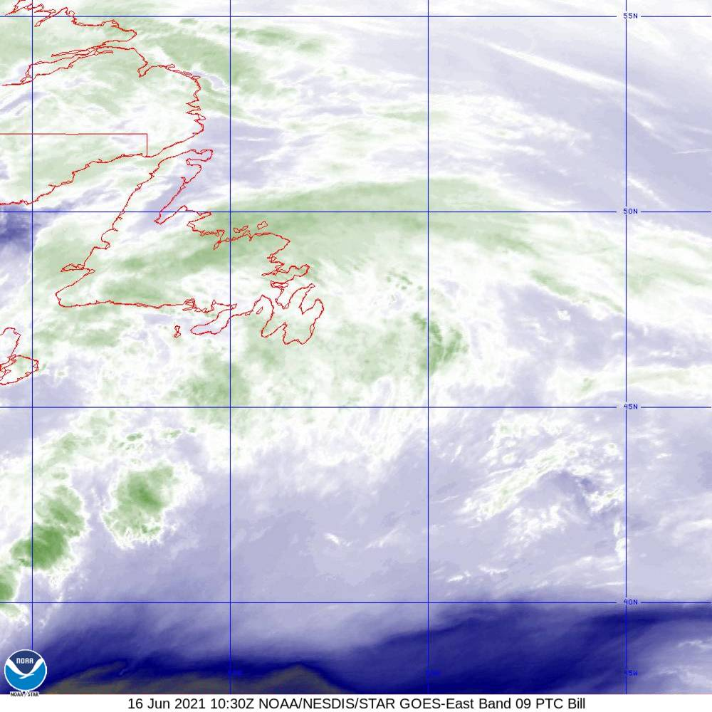 Band 9 - 6.9 µm - Mid-Level Water Vapor - IR  - 16 Jun 2021 - 1030 UTC