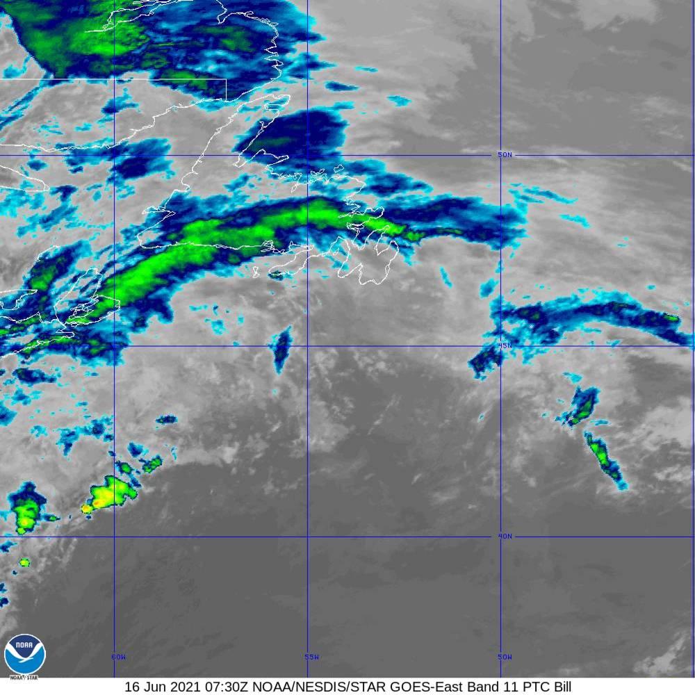Band 11 - 8.4 µm - Cloud Top - IR - 16 Jun 2021 - 0730 UTC