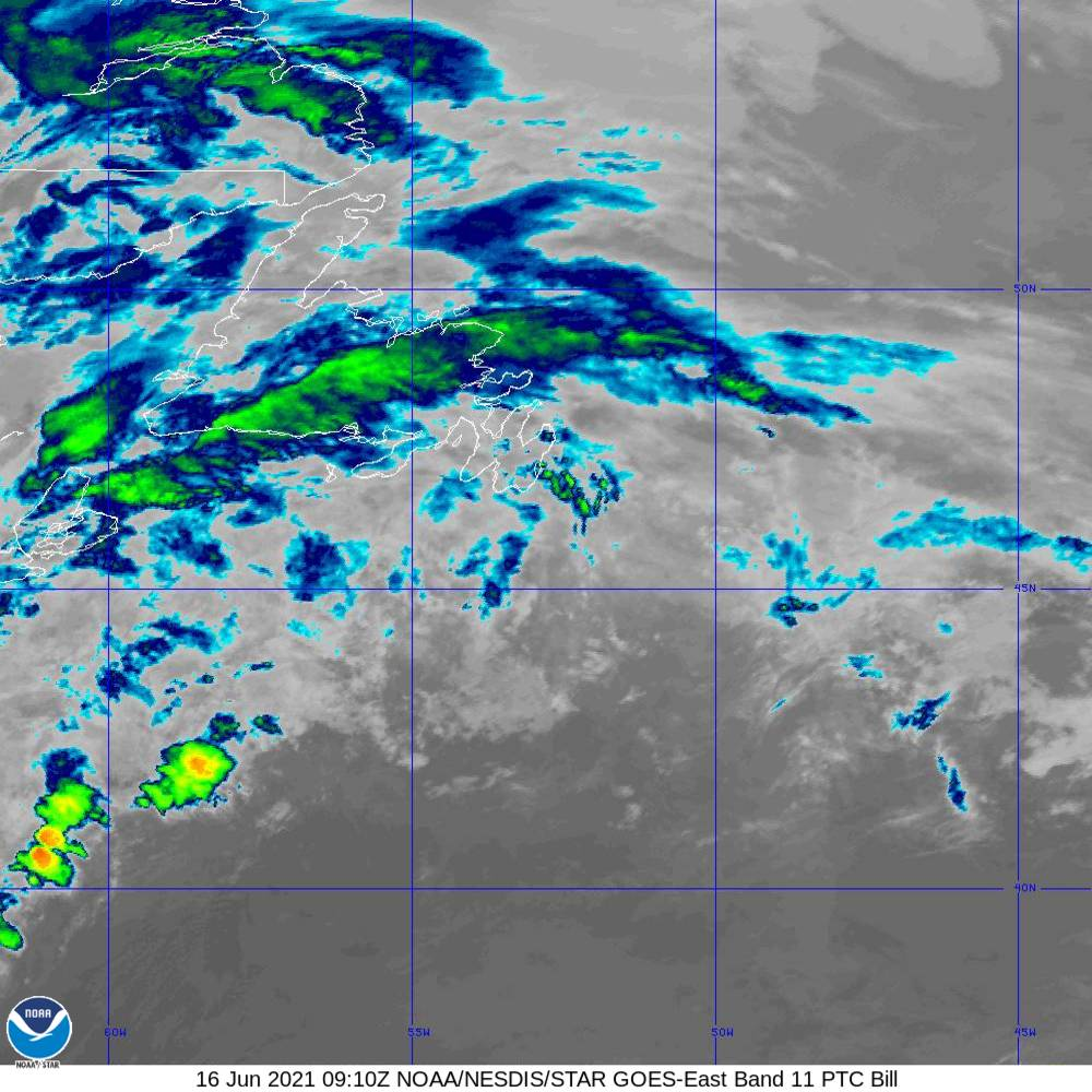 Band 11 - 8.4 µm - Cloud Top - IR - 16 Jun 2021 - 0910 UTC