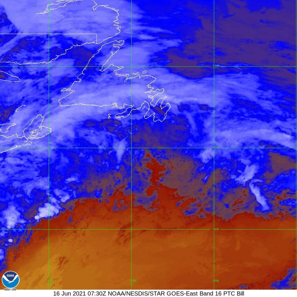 Band 16 - 13.3 µm - CO₂ Longwave - IR - 16 Jun 2021 - 0730 UTC