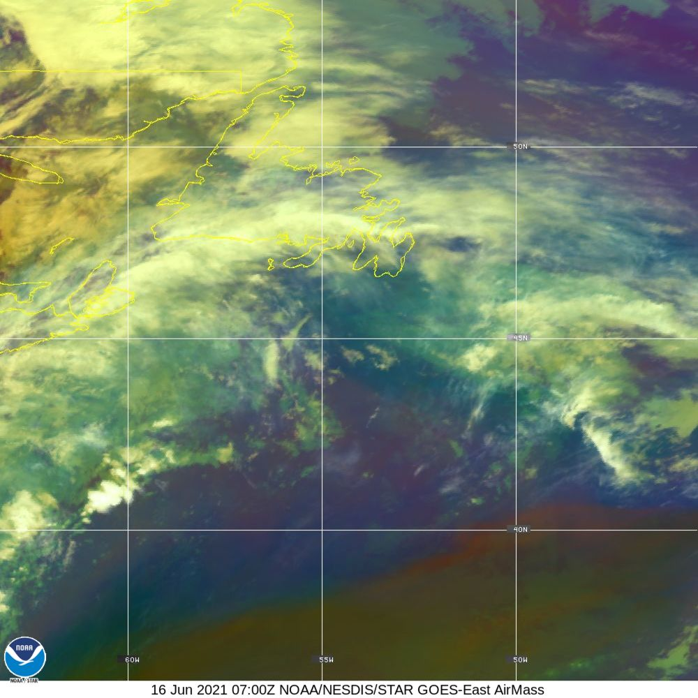 Air Mass - RGB composite based on the data from IR and WV - 16 Jun 2021 - 0700 UTC
