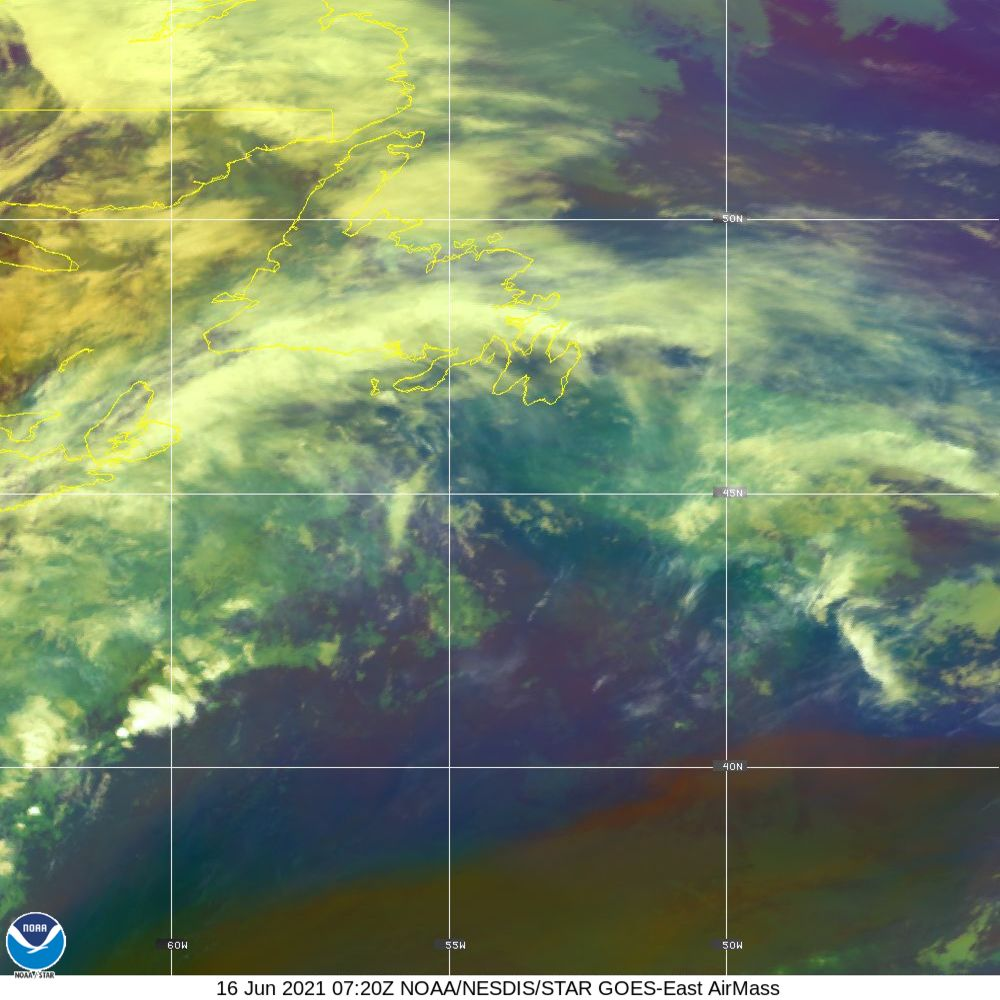 Air Mass - RGB composite based on the data from IR and WV - 16 Jun 2021 - 0720 UTC