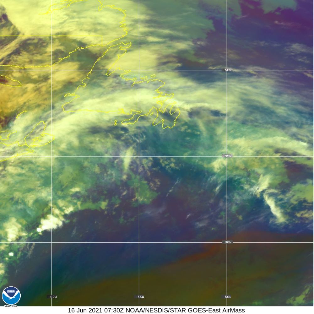 Air Mass - RGB composite based on the data from IR and WV - 16 Jun 2021 - 0730 UTC