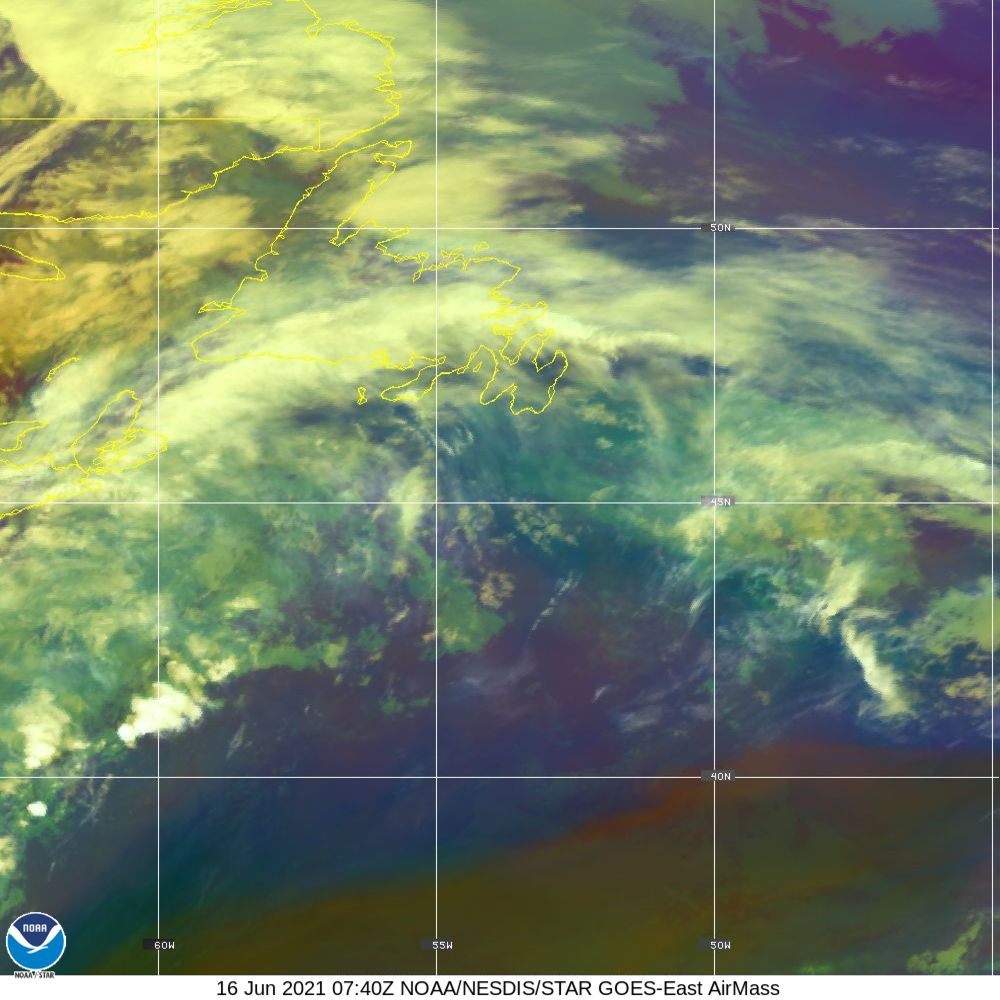 Air Mass - RGB composite based on the data from IR and WV - 16 Jun 2021 - 0740 UTC