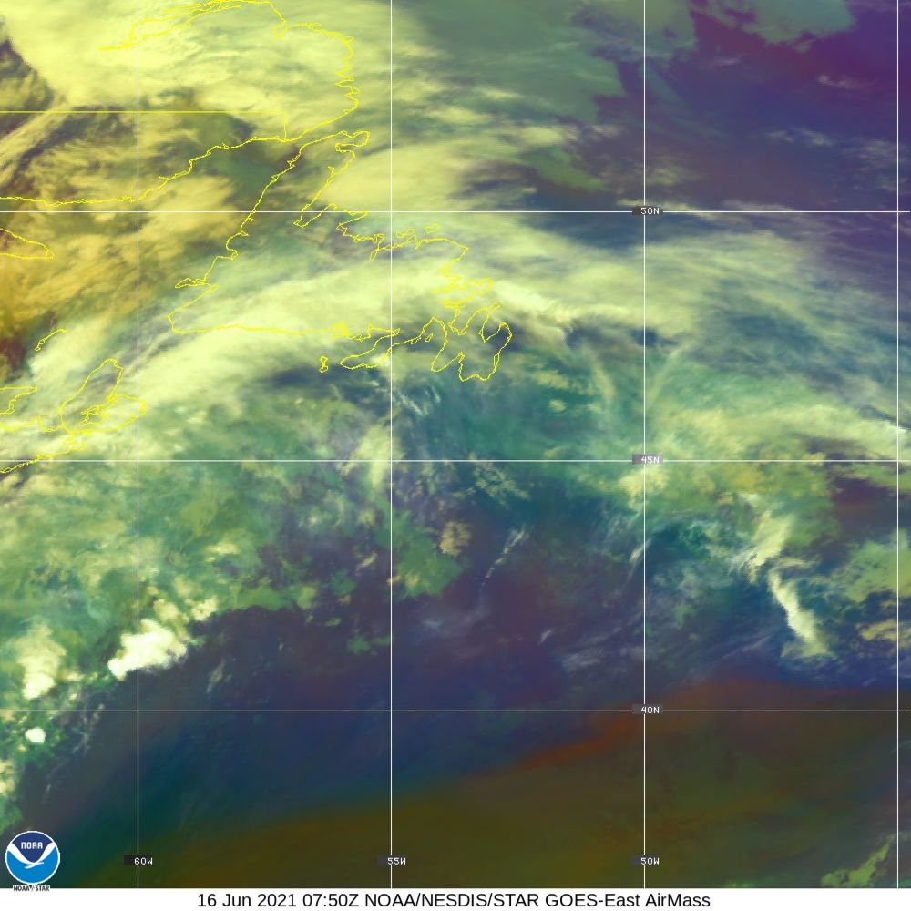 Air Mass - RGB composite based on the data from IR and WV - 16 Jun 2021 - 0750 UTC