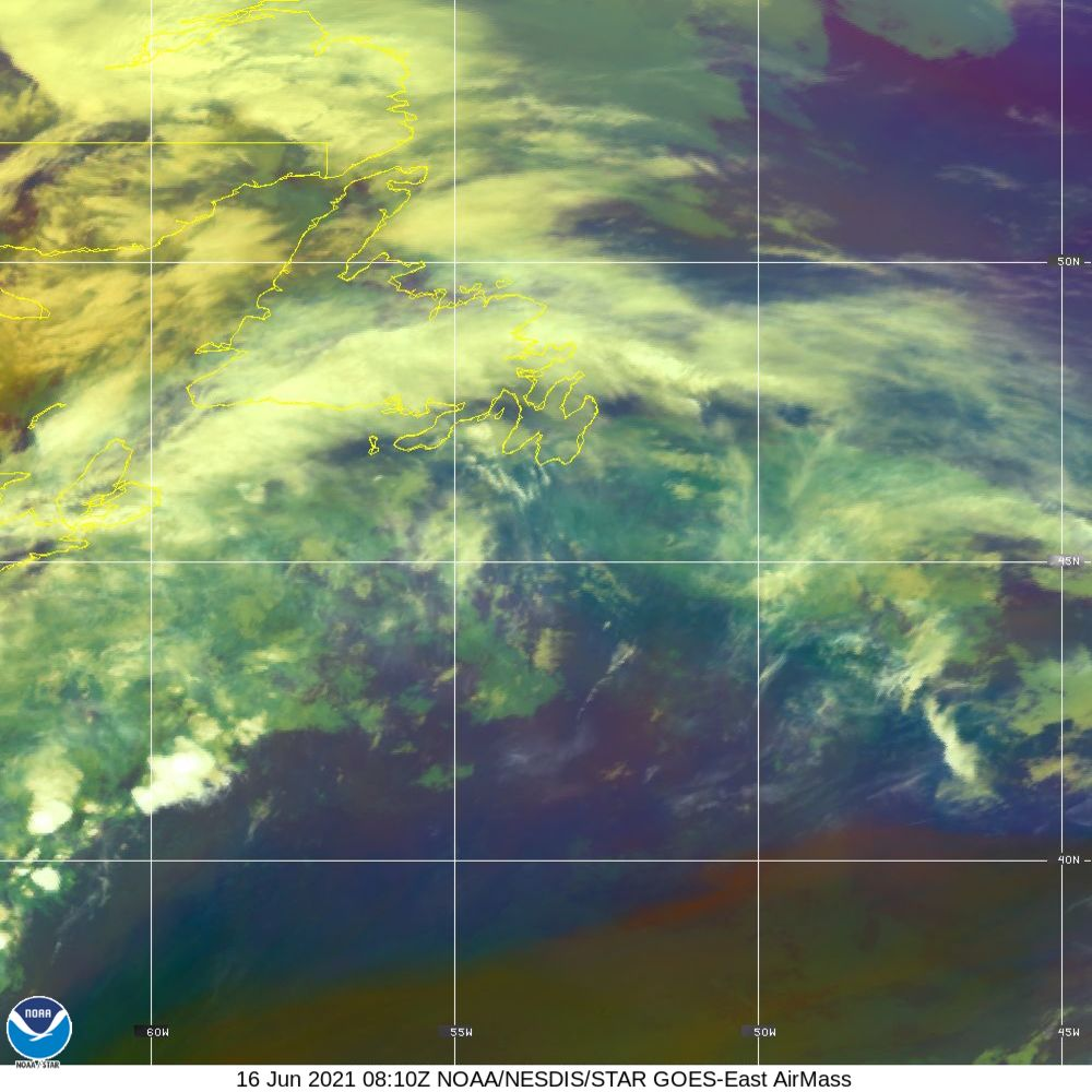 Air Mass - RGB composite based on the data from IR and WV - 16 Jun 2021 - 0810 UTC