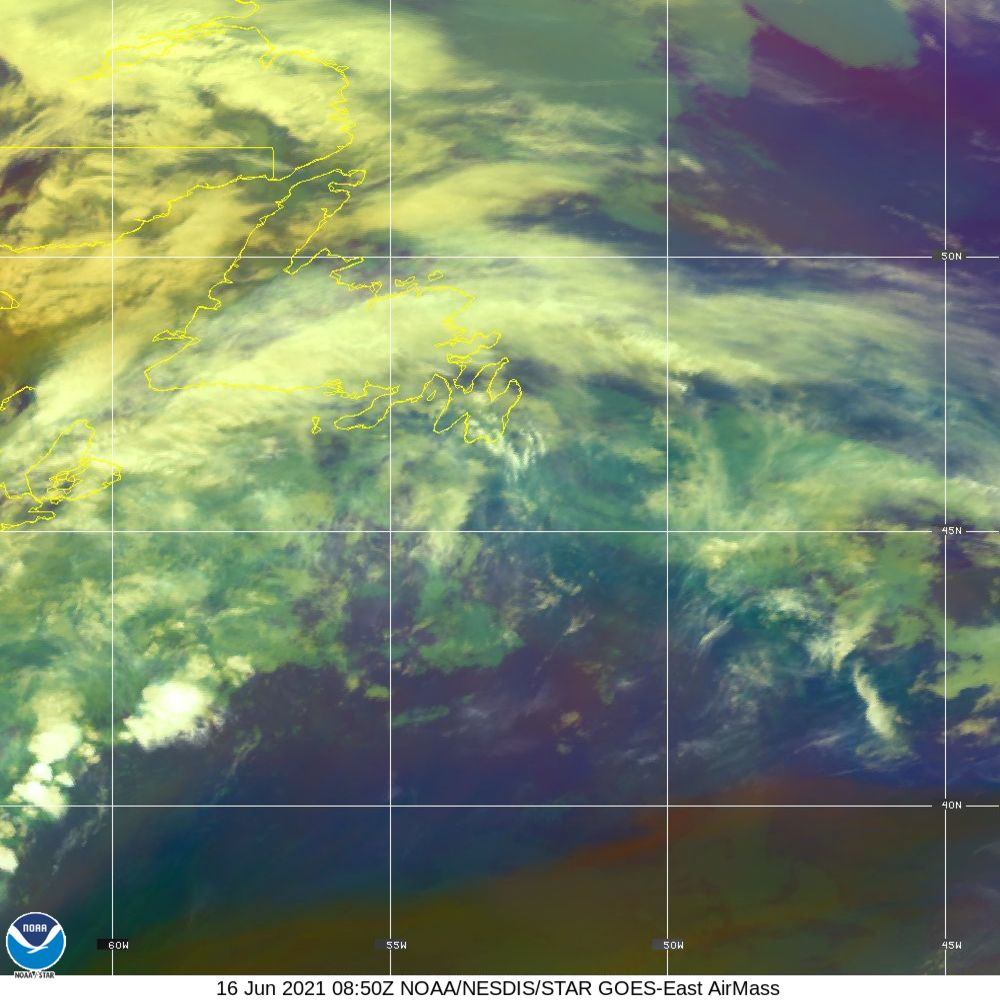 Air Mass - RGB composite based on the data from IR and WV - 16 Jun 2021 - 0850 UTC