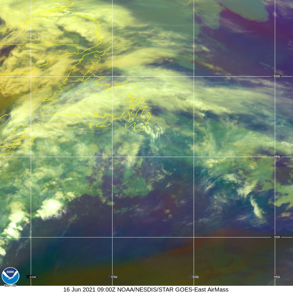 Air Mass - RGB composite based on the data from IR and WV - 16 Jun 2021 - 0900 UTC
