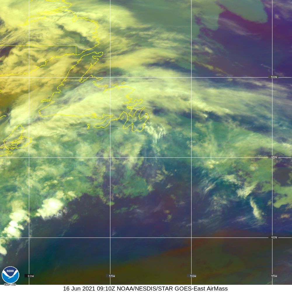 Air Mass - RGB composite based on the data from IR and WV - 16 Jun 2021 - 0910 UTC