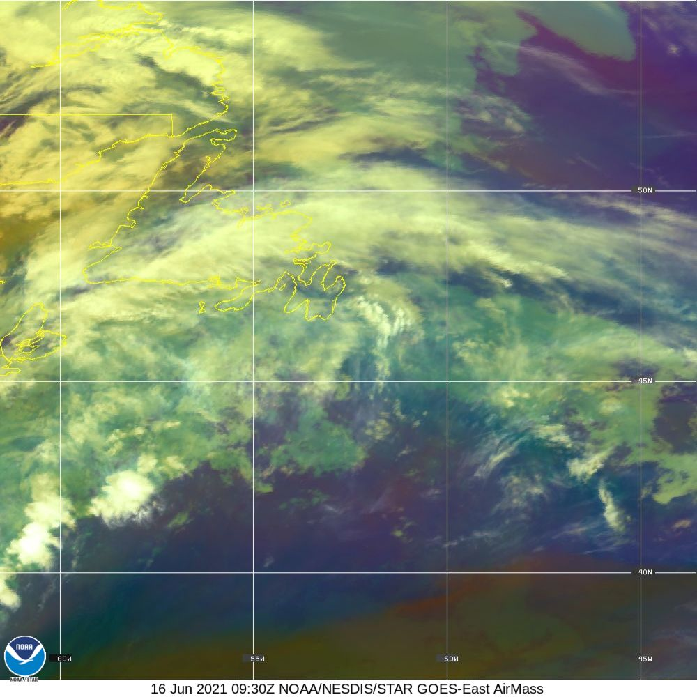Air Mass - RGB composite based on the data from IR and WV - 16 Jun 2021 - 0930 UTC