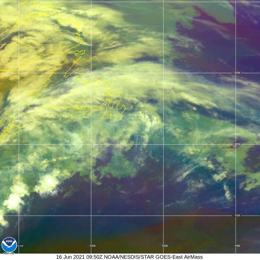 Air Mass - RGB composite based on the data from IR and WV - 16 Jun 2021 - 0950 UTC